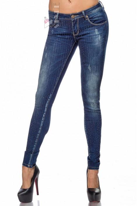 Узкие джинсы со стразами SC8031 (108031)