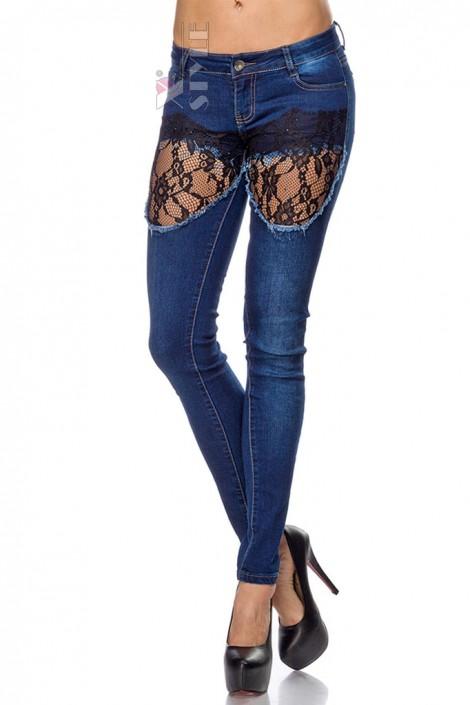 Узкие джинсы с кружевом Chic Bonbon (108035)