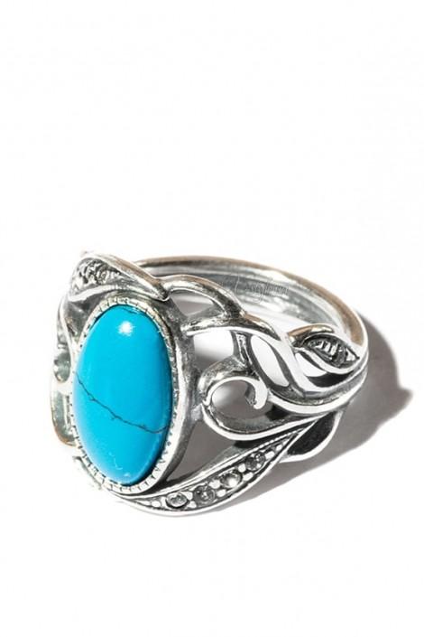 Кольцо с бирюзой и камнями Jenavi (jene62730b)