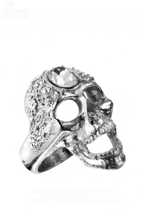 Массивное кольцо-череп с камнями Swarovski (AGR161)