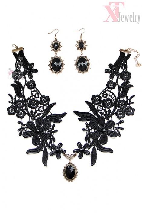 Ажурное ожерелье с серьгами (713003)