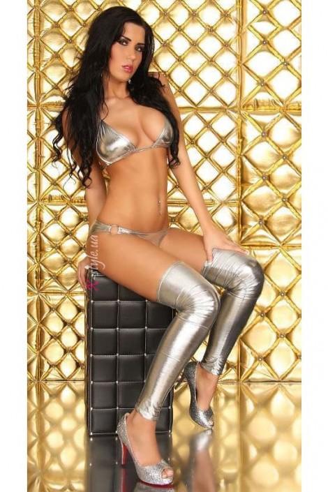 Серебристый купальник бикини с гетрами MF6245 (126245)