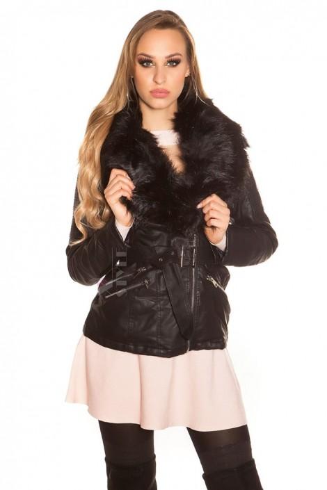 Зимова шкіряна куртка з хутром всередині та на комірі купити ... a38a5e68835f8