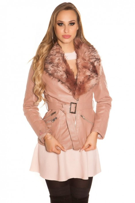 Зимняя кожаная куртка с мехом Antique Pink (112127)