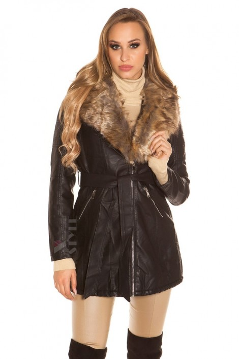 Зимове пальто з хутром всередині та на комірі купити недорого в ... 60b590515b208