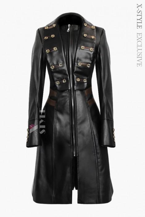 Женский кожаный плащ X-Style (114021)