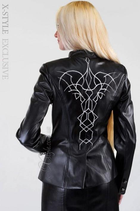 Кожаная куртка с вышивкой (112023)