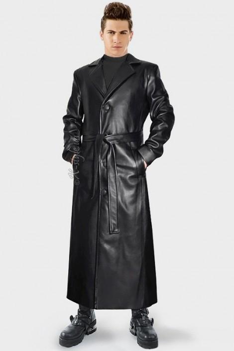 Мужской кожаный плащ (209103)