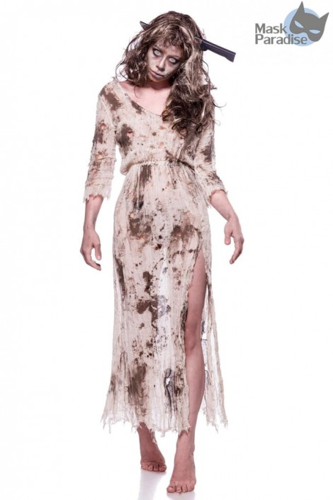 Женский костюм зомби (платье, парик и обруч) (118043)