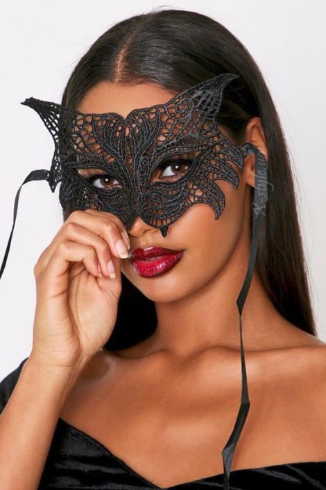 Ажурная черная маска с ушками Artistic (901053)