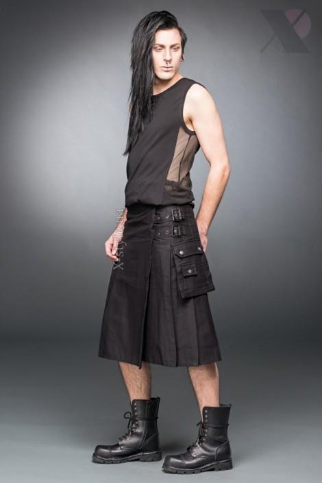 Черный килт с навесным карманом (204085)