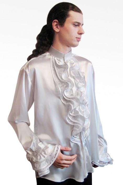 Белая рубашка с жабо (202004)