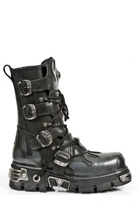 Комбинированные ботинки из натуральной кожи (591-S2)