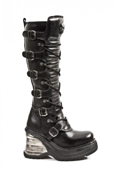 Кожаные сапоги со шнуровкой (8272-S1)