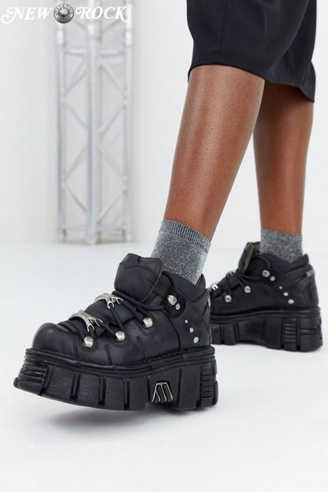 Черные кожаные кроссовки на массивной подошве M106 (M106-S1NEGRO)
