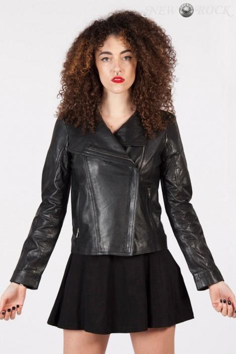 Черная женская куртка из натуральной кожи New Rock (112030)