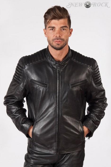 Черная мужская куртка из натуральной кожи New Rock (206111)