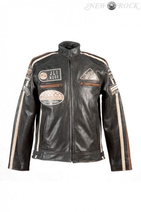 Черная мужская мотокуртка из натуральной кожи New Rock (206112)