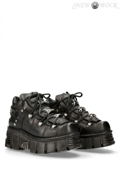 Черные кожаные кроссовки на массивной подошве M106c66 (M106-C66-ITALI)