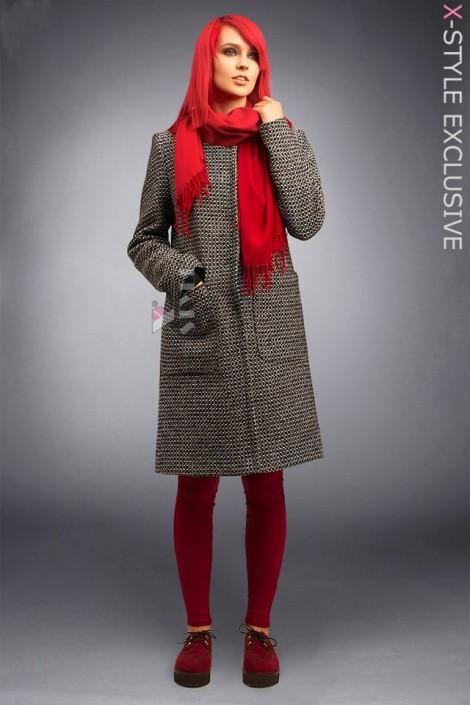 Твидовое пальто оверсайз X4034 (114034)