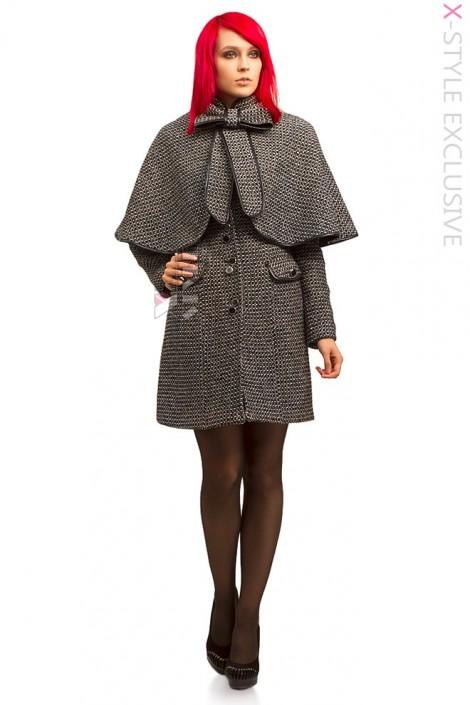 Демисезонное твидовое пальто с шалью (114036)