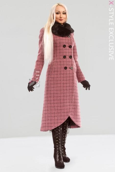 Винтажное пальто с корсетом и мехом X-STYLE (115044)