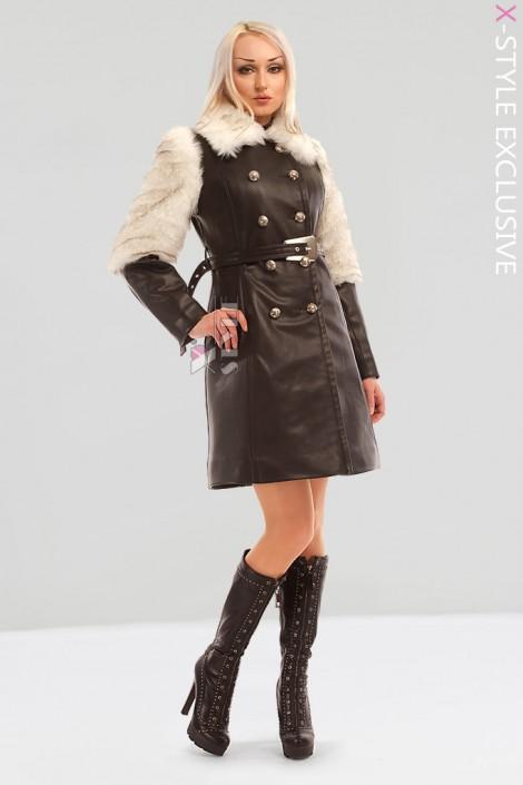 Зимнее кожаное пальто с мехом X5050 (115050)