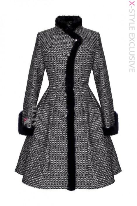 Винтажное зимнее пальто из твида рогожки Х5056 (115056)