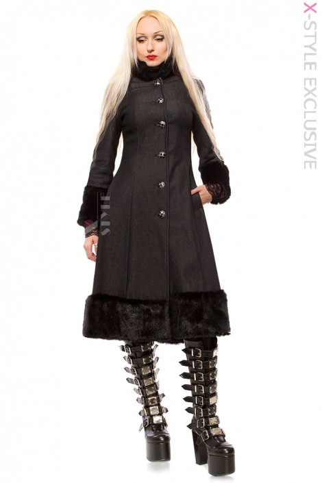 Зимнее пальто с корсетом и мехом Xstyle (115076)