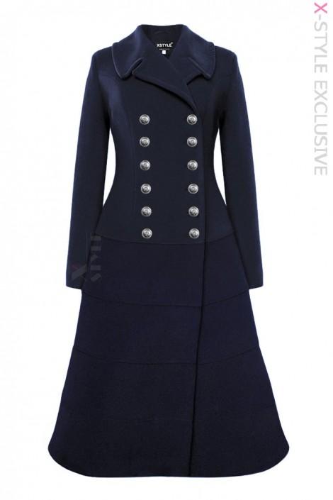 Зимнее шерстяное пальто темно-синего цвета X5077 (115077)
