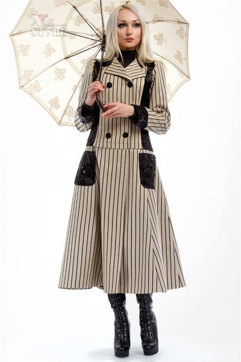 Винтажное пальто в полоску X4030 (114030)