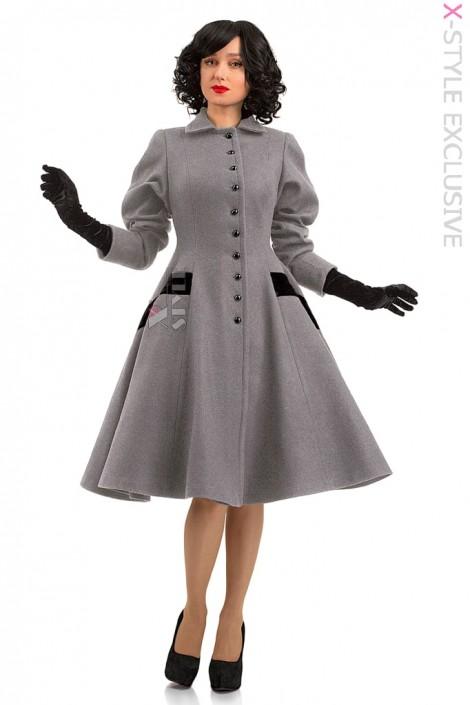Винтажное демисезонное пальто из натуральной шерсти (114044)