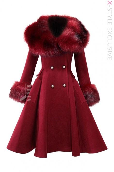Зимнее шерстяное пальто с мехом X5073 (115073)