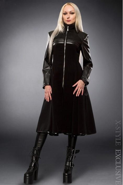 Демисезонное пальто с отделкой из кожи X-Style (114027)