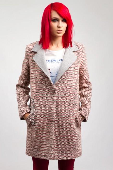 Демисезонное твидовое пальто X035 (114035)