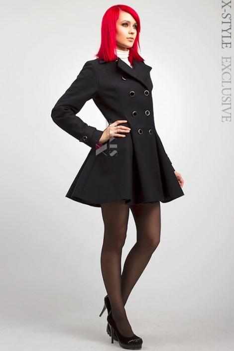 Двубортное расклешенное пальто X-038 (114038)