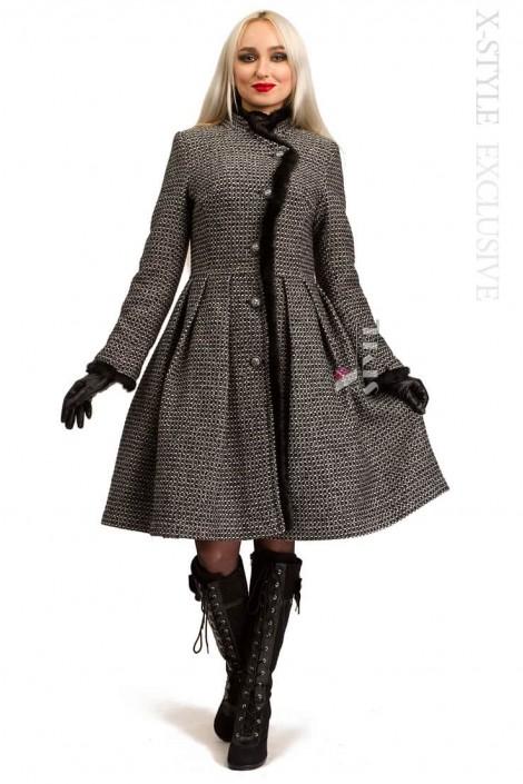 Зимнее твидовое пальто с мехом X5056 (115056)