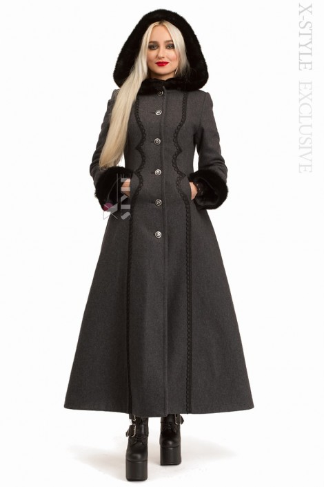 Длинное женское пальто из натуральной шерсти X-Style (115061)