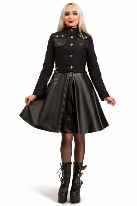 Зимнее пальто из коттона и кожи Xstyle (115063)