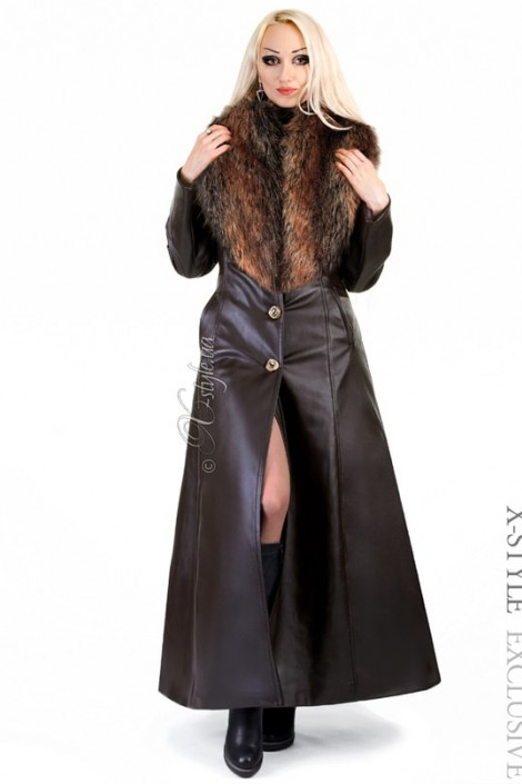 Длинное пальто с меховым воротником X-Style (115024)