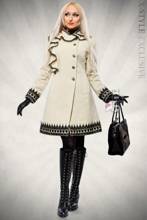 Кашемировое зимнее пальто с кружевом (115031)