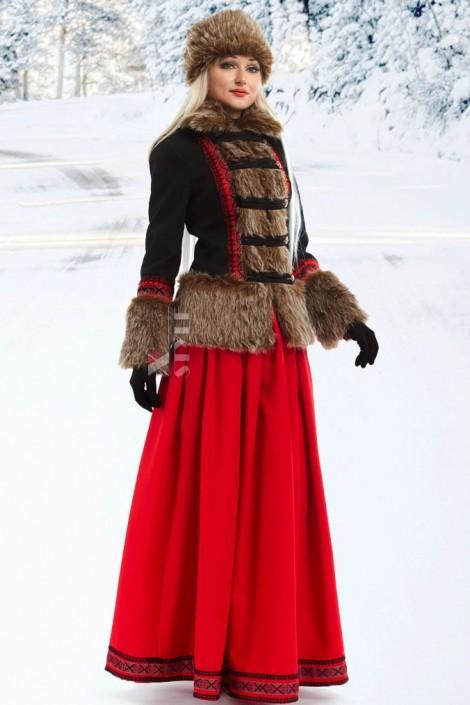 Короткое пальто с мехом и вышивкой X-Style (115051)