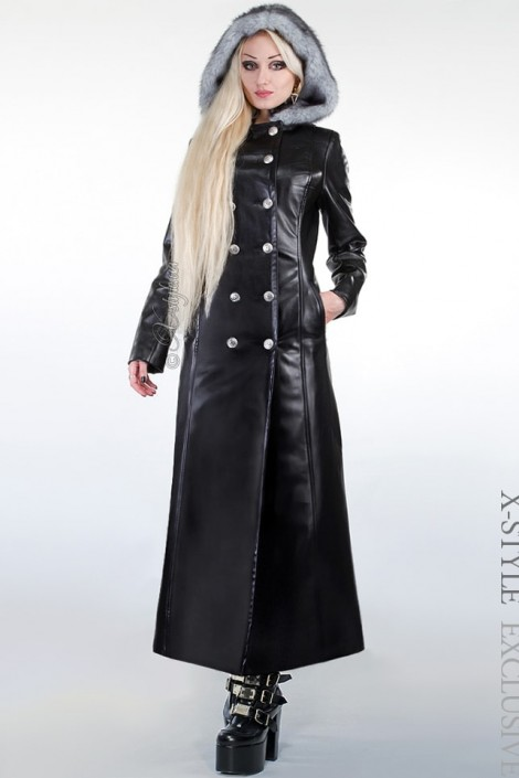 Зимнее кожаное пальто с мехом X-Style (115022)