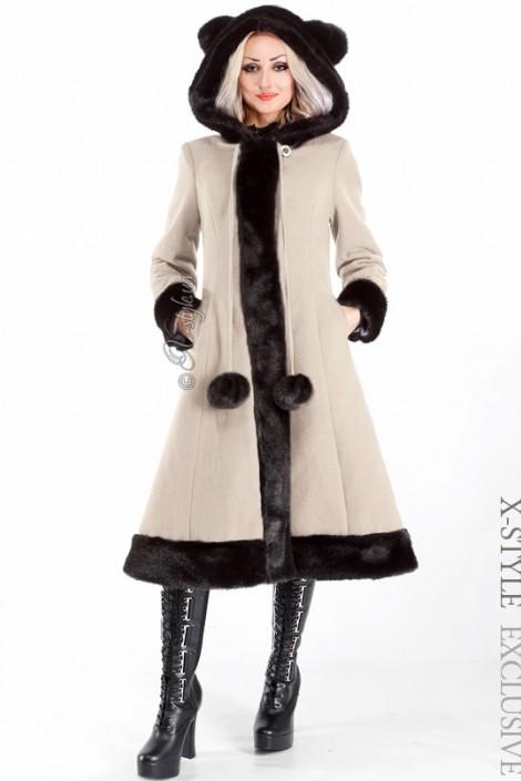Пальто зимнее с меховыми ушками (115015-2)