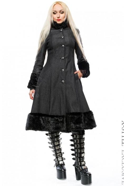 Расклешенное пальто с мехом X-Style (115033)