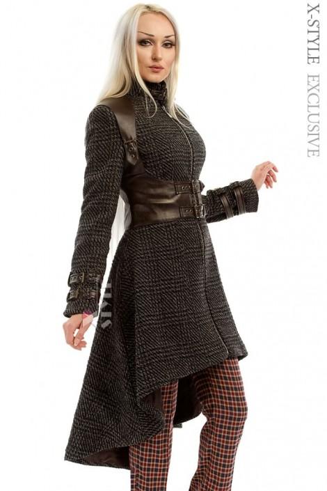 Твидовое пальто с портупеей (114032)