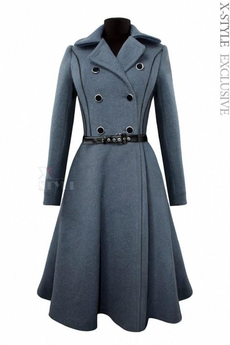 Винтажное пальто из натуральной шерсти (115055)
