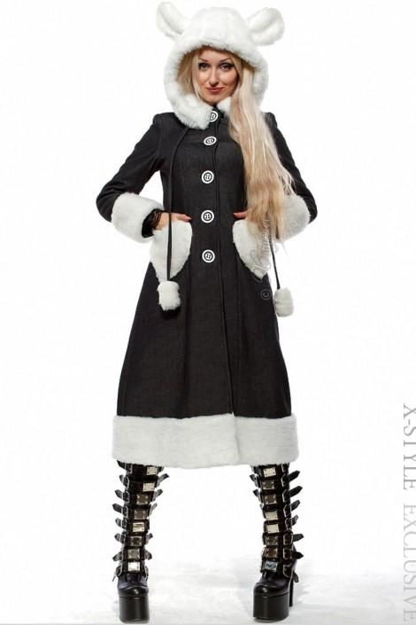 Зимнее пальто с капюшоном и ушками (115034)