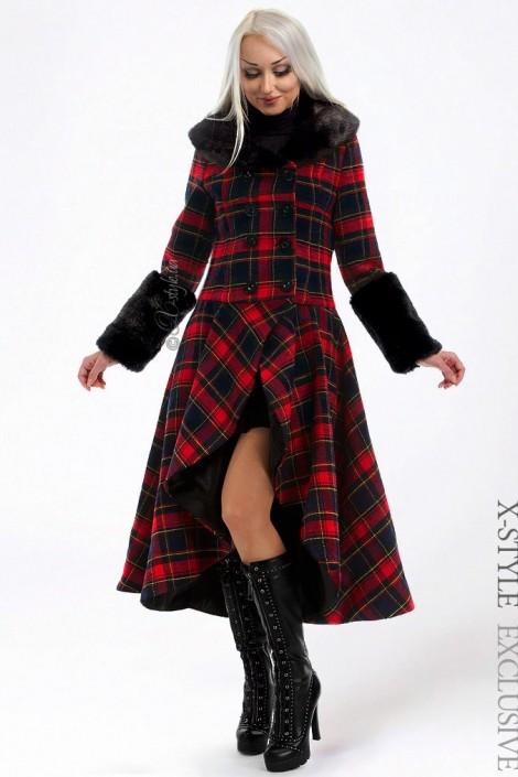 Асимметричное пальто с мехом X-Style (115053)