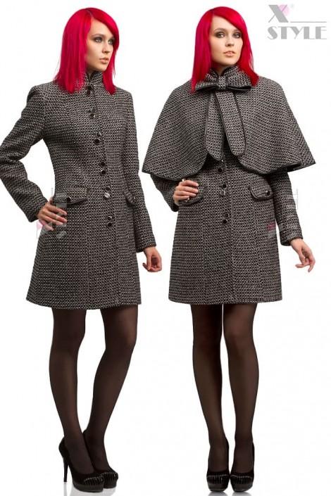 Твидовое пальто с шалью (114036)